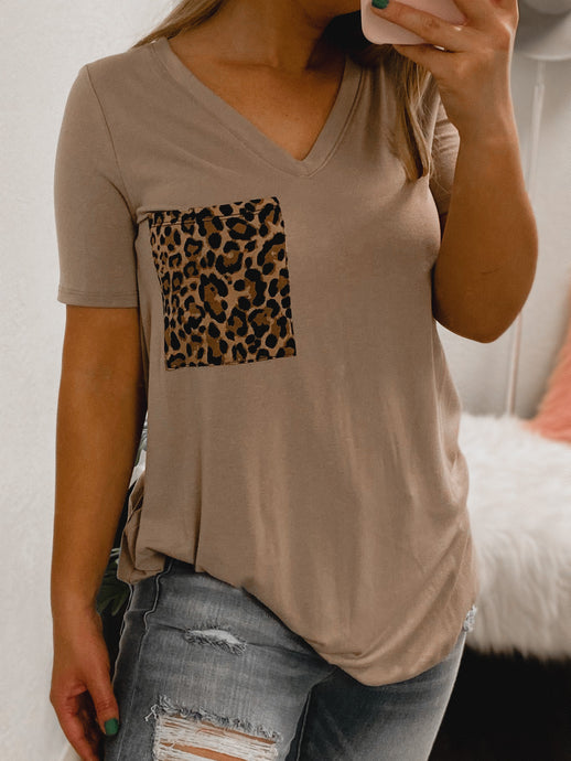 Cheetah BF Pocket Tee - (MOCHA)-The Twisted Chandelier--The Twisted Chandelier