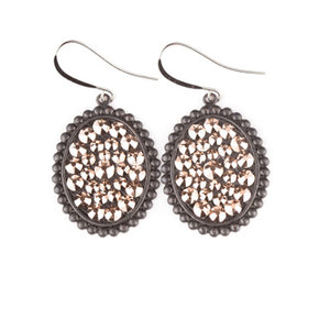 Matte Black Rose Gold Ovals- E410BLRG Pink Panache Earrings-The Twisted Chandelier--The Twisted Chandelier