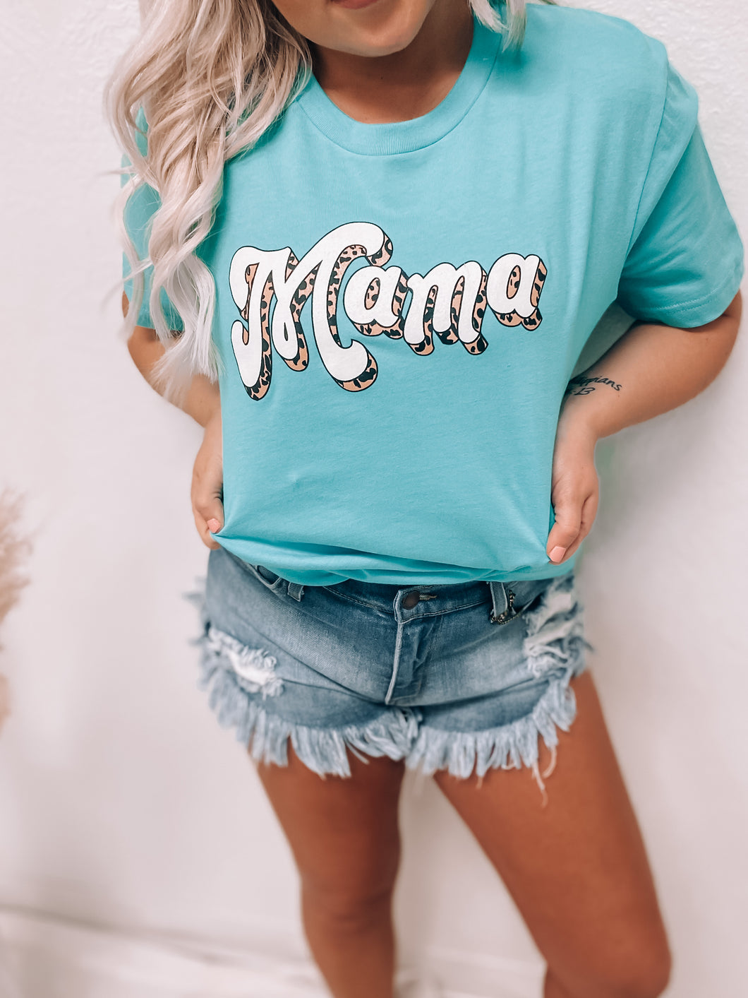 MAMA LEOPARD TEE-Shirt-Apparel wholesale-Blondie tee, top-The Twisted Chandelier