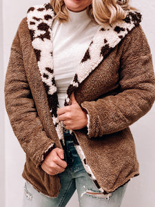 Madelyn - Sherpa Cow Print Jacket-The Twisted Chandelier-leopard vest, Sherpa vest, vest-The Twisted Chandelier