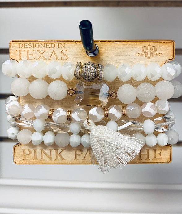 White Tassel Beaded 5 Set Bracelet Set -CNC F08 Pink Panache Bracelets-The Twisted Chandelier--The Twisted Chandelier