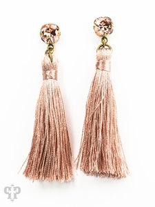 Pink Panache Pink Tassel Earrings-Pink Panache-e488brb-The Twisted Chandelier