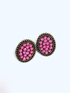 Pink Crystals on Gold Oval Studs-e420bcp-The Twisted Chandelier--The Twisted Chandelier