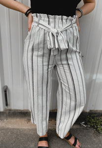 Boss Babe Striped Pants (White)-The Twisted Chandelier--The Twisted Chandelier
