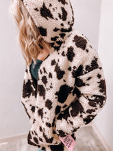 Load image into Gallery viewer, Madelyn - Sherpa Cow Print Jacket-The Twisted Chandelier-leopard vest, Sherpa vest, vest-The Twisted Chandelier