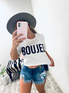 Boujee Crop Tee - White-The Twisted Chandelier-babe tee, cheetah tee, crop tee-The Twisted Chandelier