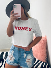 Load image into Gallery viewer, Honey Crop Tee - White-The Twisted Chandelier-babe tee, cheetah tee, crop tee-The Twisted Chandelier