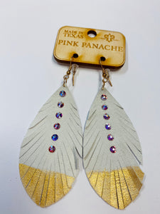Pink Panache White Feather Earrings- F4-The Twisted Chandelier--The Twisted Chandelier