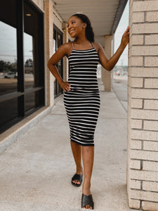 Mallie Striped Dress-The Twisted Chandelier-crossstrap, maxi, striped-The Twisted Chandelier