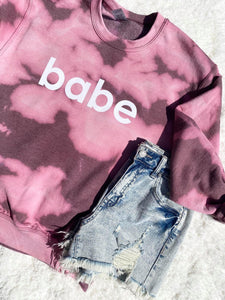 BABE ACID WASH SWEATSHIRT-The Twisted Chandelier--The Twisted Chandelier