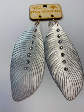 Load image into Gallery viewer, Pink Panache Silver Feather Earrings- G26-The Twisted Chandelier--The Twisted Chandelier