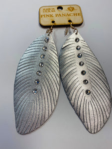 Pink Panache Silver Feather Earrings- G26-The Twisted Chandelier--The Twisted Chandelier