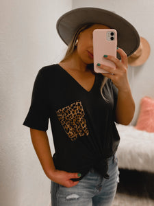 PLUS SIZE Cheetah BF Pocket Tee - (CHARCOAL)