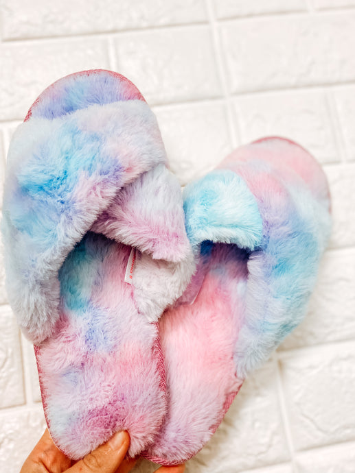 Tie Dye Cozy Slippers-SHOES-WannaB-OCT2020, WNB2B2815F676-BO1-The Twisted Chandelier