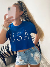Load image into Gallery viewer, USA Crop Tee- Blue-The Twisted Chandelier-babe tee, cheetah tee, crop tee-The Twisted Chandelier