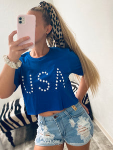 USA Crop Tee- Blue-The Twisted Chandelier-babe tee, cheetah tee, crop tee-The Twisted Chandelier