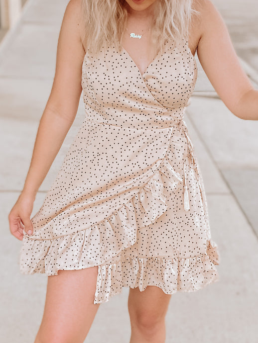 Hayden Ruffle Dress-The Twisted Chandelier-minidress, polkadot, satin, summerdress-The Twisted Chandelier