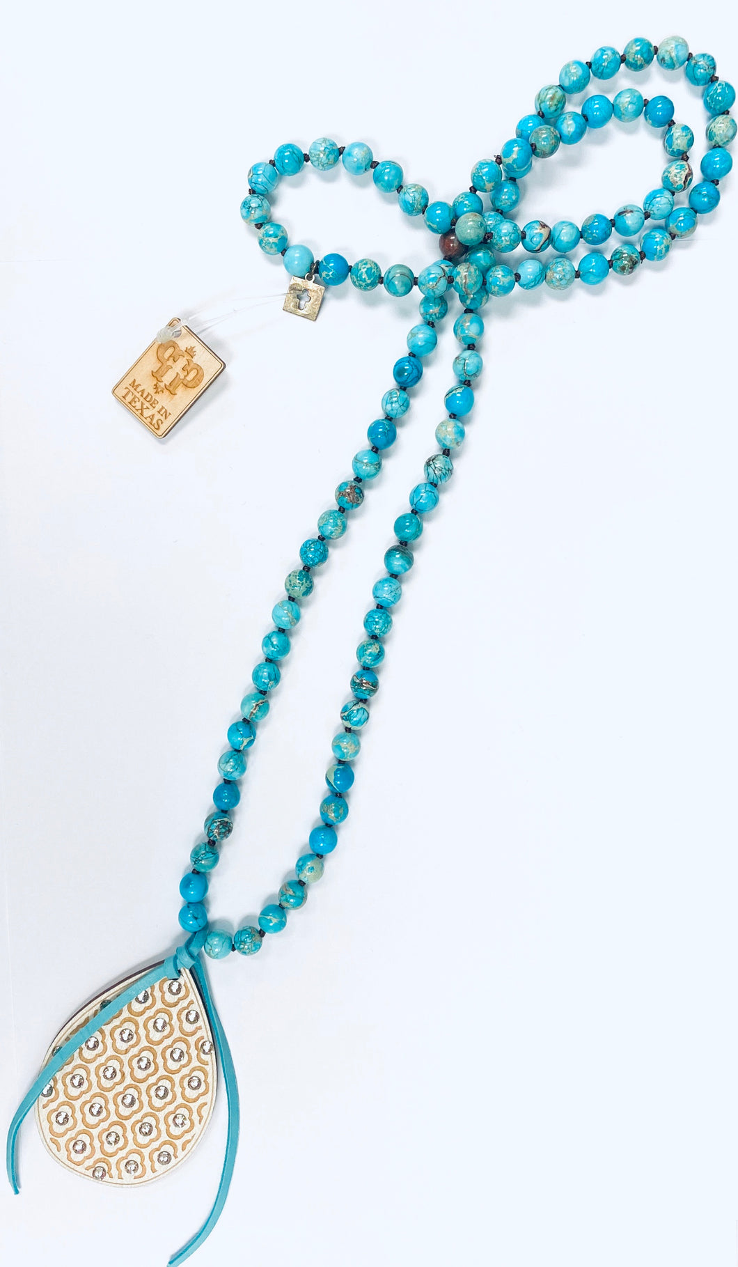 Long Turquoise Beaded Necklace- n326wcls-The Twisted Chandelier--The Twisted Chandelier
