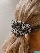 Load image into Gallery viewer, White Leopard Scrunchie-The Twisted Chandelier--The Twisted Chandelier