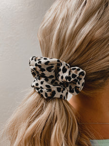 White Leopard Scrunchie-The Twisted Chandelier--The Twisted Chandelier