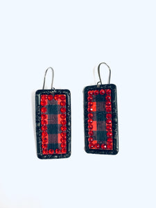 Red Crystal on Black Buffalo Plaid Sm Rectangles- e481blrbp-The Twisted Chandelier--The Twisted Chandelier