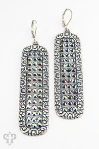 Blue Crystals on Silver Rectangles- e476sst-The Twisted Chandelier--The Twisted Chandelier