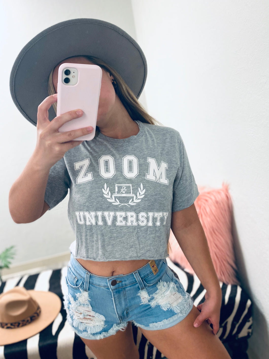 Zoom University Crop Tee - Grey-The Twisted Chandelier-babe tee, cheetah tee, crop tee-The Twisted Chandelier