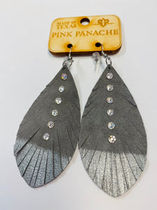 Pink Panache Silver Feather Earrings- G10-The Twisted Chandelier--The Twisted Chandelier