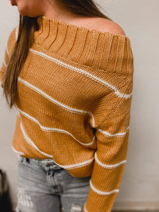 Anna Off the Shoulder Mustard Striped Sweater-TOPS-Easel-NewArrival, NOV2020, November 2020, November2020, Top-The Twisted Chandelier