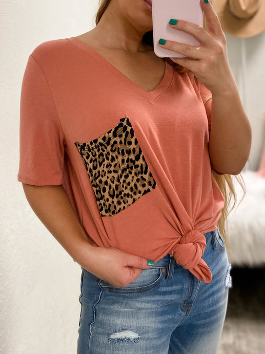 PLUS SIZE Cheetah BF Pocket Tee - (ASH ROSE)-The Twisted Chandelier--The Twisted Chandelier