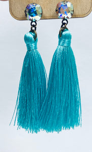 Turquoise Tassel Earrings- e488-The Twisted Chandelier--The Twisted Chandelier