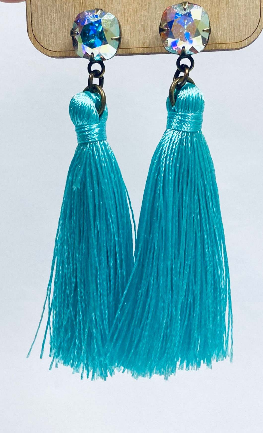 Pink Panache Turquoise Tassel Earrings-Pink Panache-e488-The Twisted Chandelier
