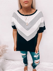 BLACK CHEVRON TOP-TOPS-BiBi-black top, chevron top, march2021, top-The Twisted Chandelier