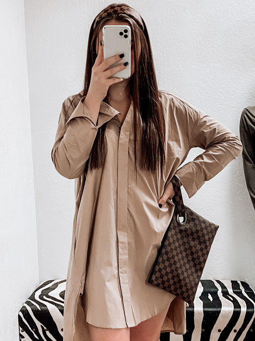 Cali Classic Button Down Tunic Dress-Dress-Easel-button up, dress, NewArrival, NOV2020, November 2020, November2020, tunic-The Twisted Chandelier