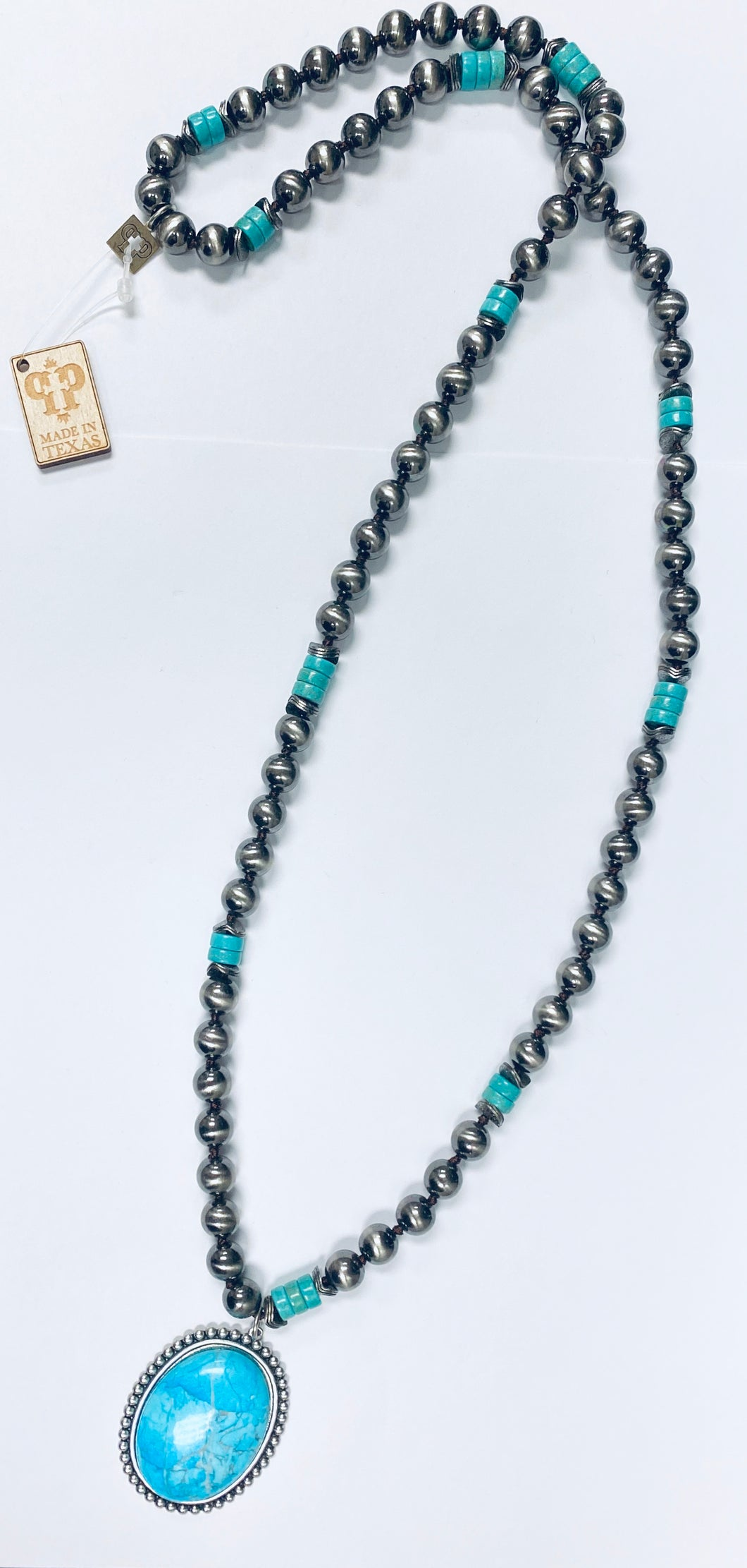 Blue Stone Silver Beaded Necklace- n377stc-The Twisted Chandelier--The Twisted Chandelier