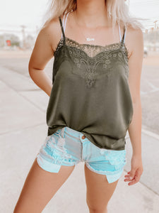 Dallas Lace Tank-The Twisted Chandelier-cami, Dallas, lace, olive-The Twisted Chandelier