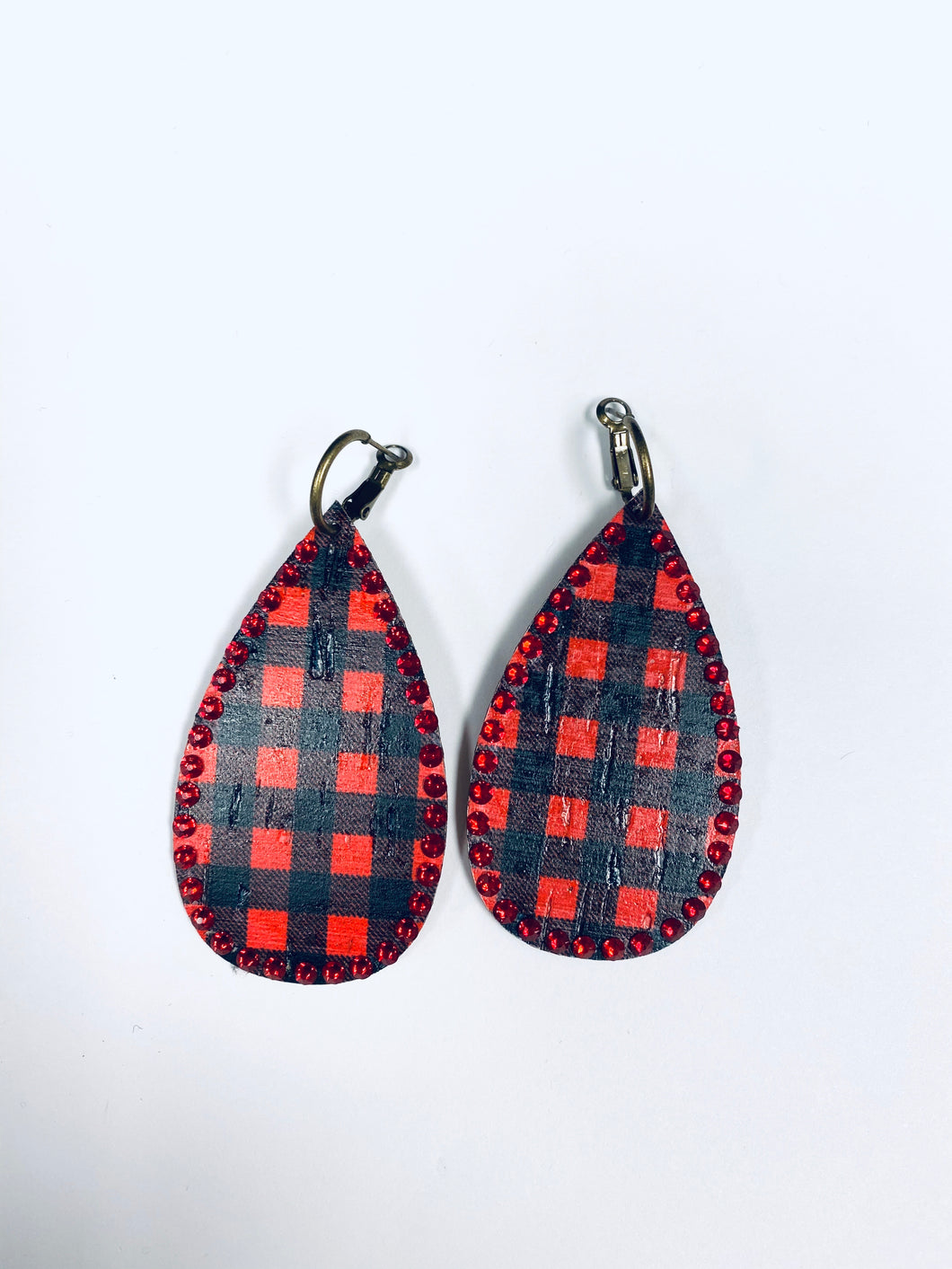 Red Crystals on Buffalo Plaid Teardrop- e05-The Twisted Chandelier--The Twisted Chandelier