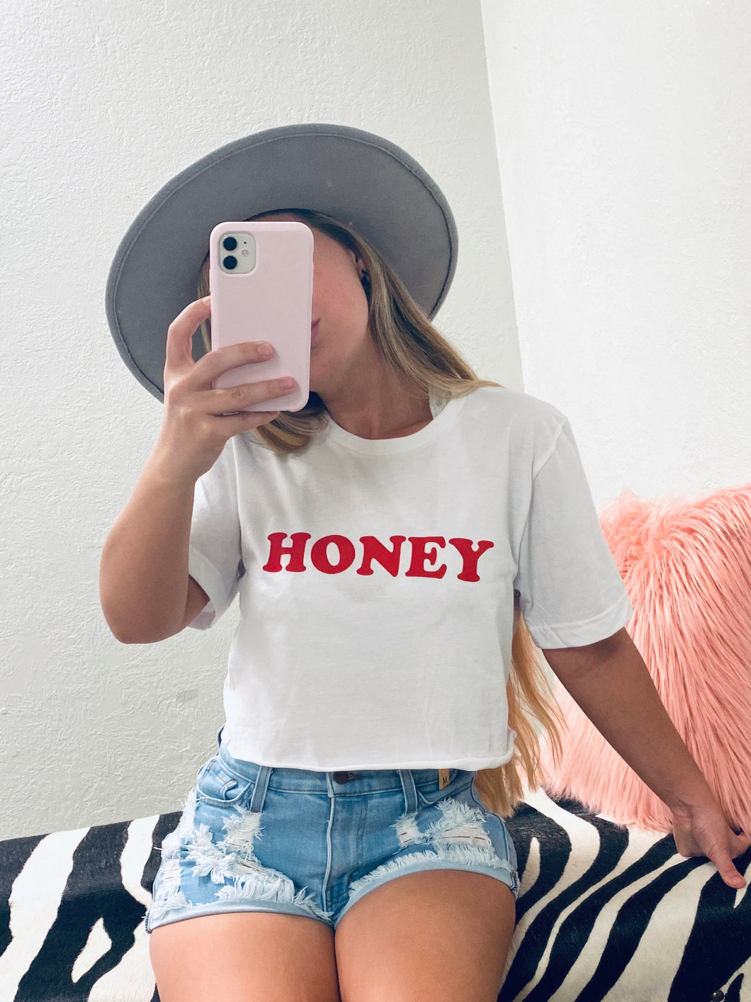 Honey Crop Tee - White-The Twisted Chandelier-babe tee, cheetah tee, crop tee-The Twisted Chandelier