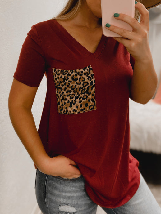 PLUS SIZE Cheetah BF Pocket Tee - (MAROON)-The Twisted Chandelier--The Twisted Chandelier