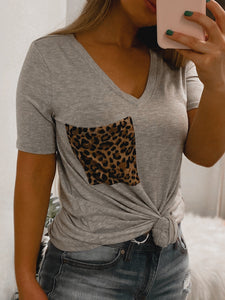 Cheetah BF Pocket Tee - (GREY)-The Twisted Chandelier--The Twisted Chandelier