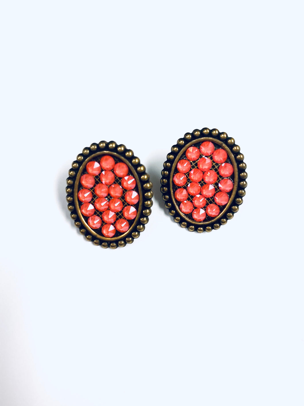 Coral Pink Crystals on Gold Oval Studs- e420bcc-The Twisted Chandelier--The Twisted Chandelier