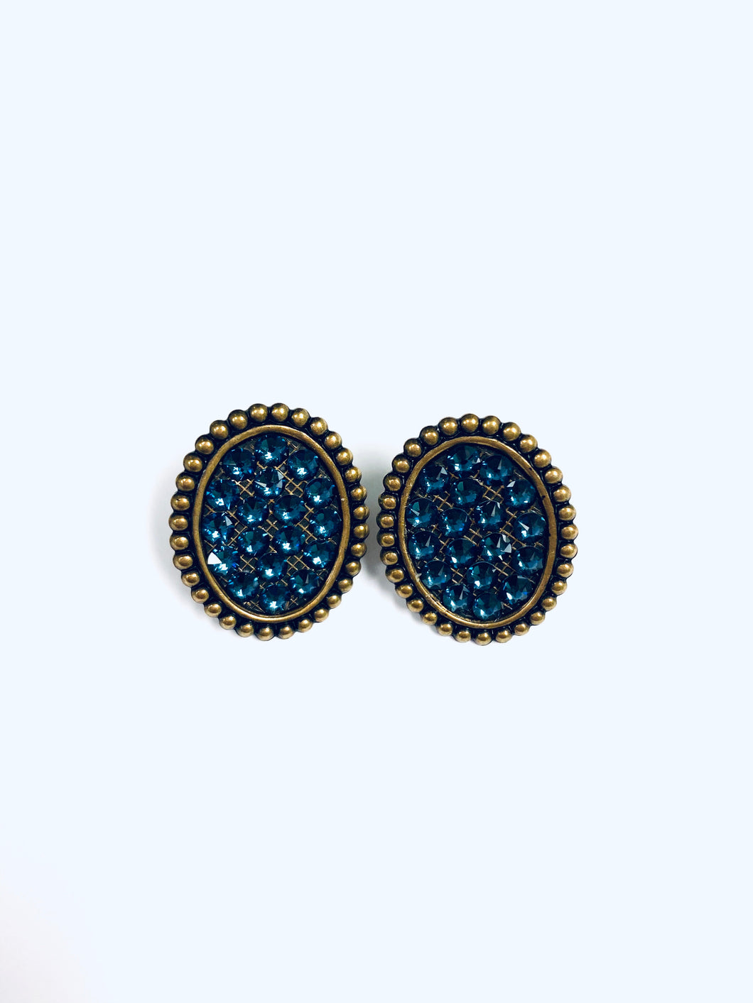Navy Blue Crystals on Gold Oval Studs- e420bmt-The Twisted Chandelier--The Twisted Chandelier