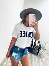 Load image into Gallery viewer, Boujee Crop Tee - White-The Twisted Chandelier-babe tee, cheetah tee, crop tee-The Twisted Chandelier