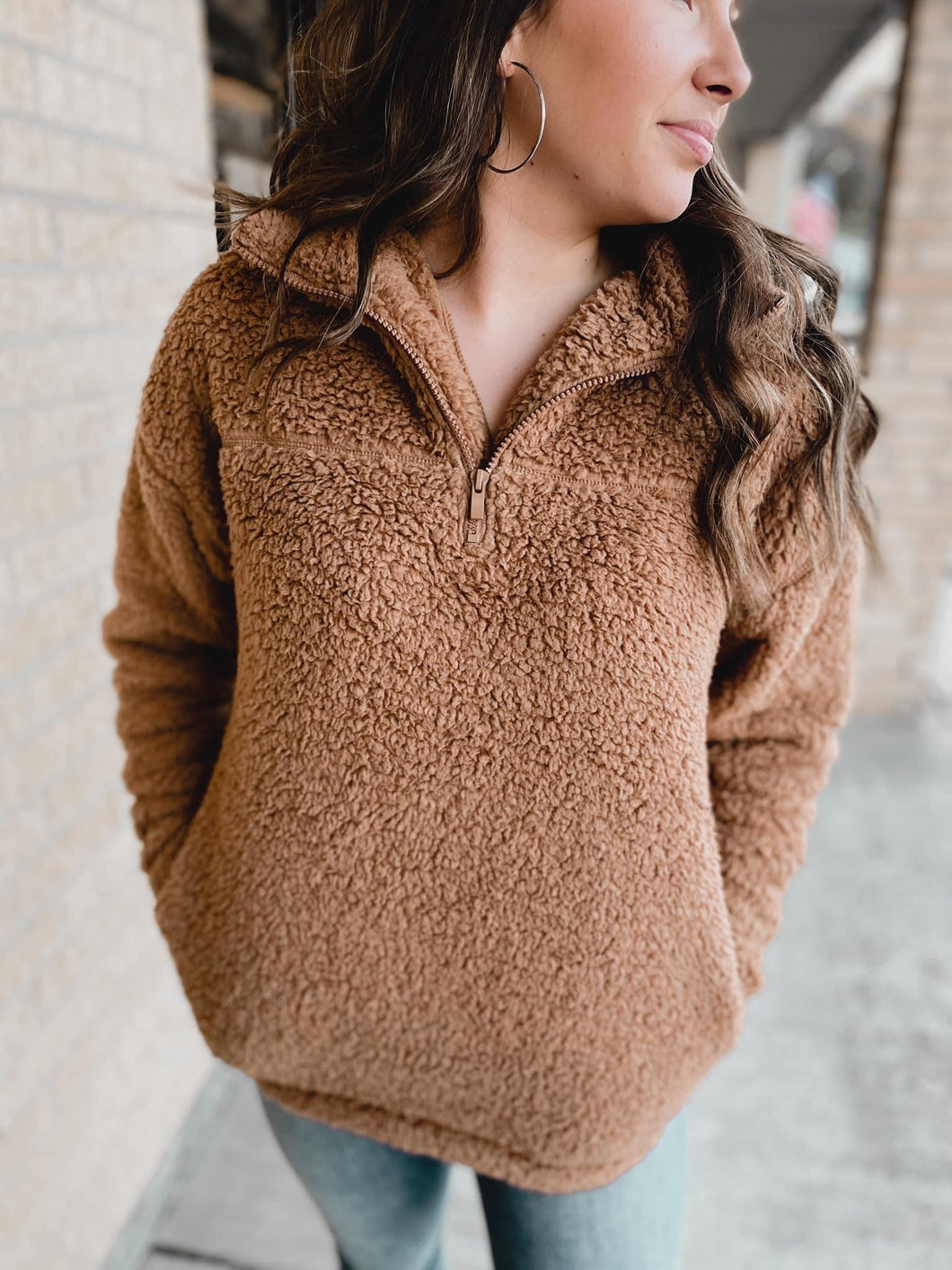 Sherpa Pullover - DEEP CAMEL-Sherpa-ZENANA-blackfriday, DOORBUSTER, november2020, pink Friday, Sherpa, Sherpa sale-The Twisted Chandelier