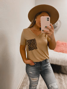 Cheetah BF Pocket Tee - (MUSTARD)-The Twisted Chandelier--The Twisted Chandelier