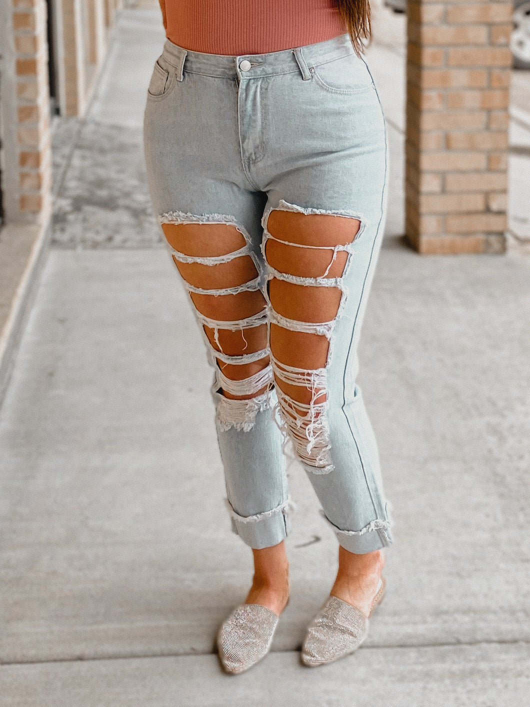 Skye Light Washed Ripped Jeans-The Twisted Chandelier--The Twisted Chandelier