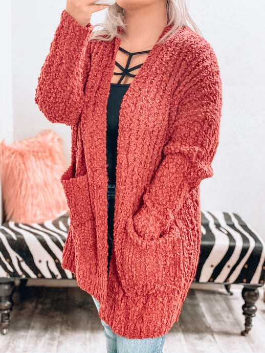 NEW Popcorn Cardigan (Berry)-The Twisted Chandelier--The Twisted Chandelier