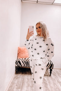 Simone Lounge Top - White with Charcoal Stars-Fornia Fashion-DOORBUSTER, NOV2020, November 2020, November2020-The Twisted Chandelier
