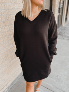 Darby V-Neck Sweater Dress (Plus Size Black)-The Twisted Chandelier--The Twisted Chandelier