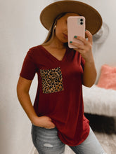 Load image into Gallery viewer, Cheetah BF Pocket Tee - (MAROON)-The Twisted Chandelier--The Twisted Chandelier